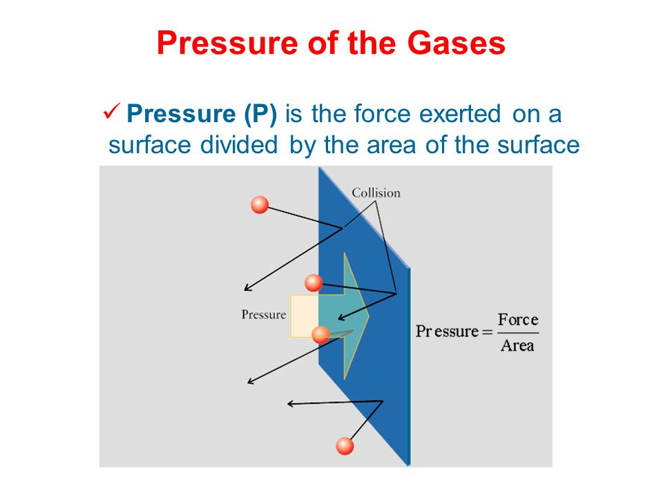 Pressure of the Gases Pressure (P) is the force exerted on a surface divided by the area of the surface.