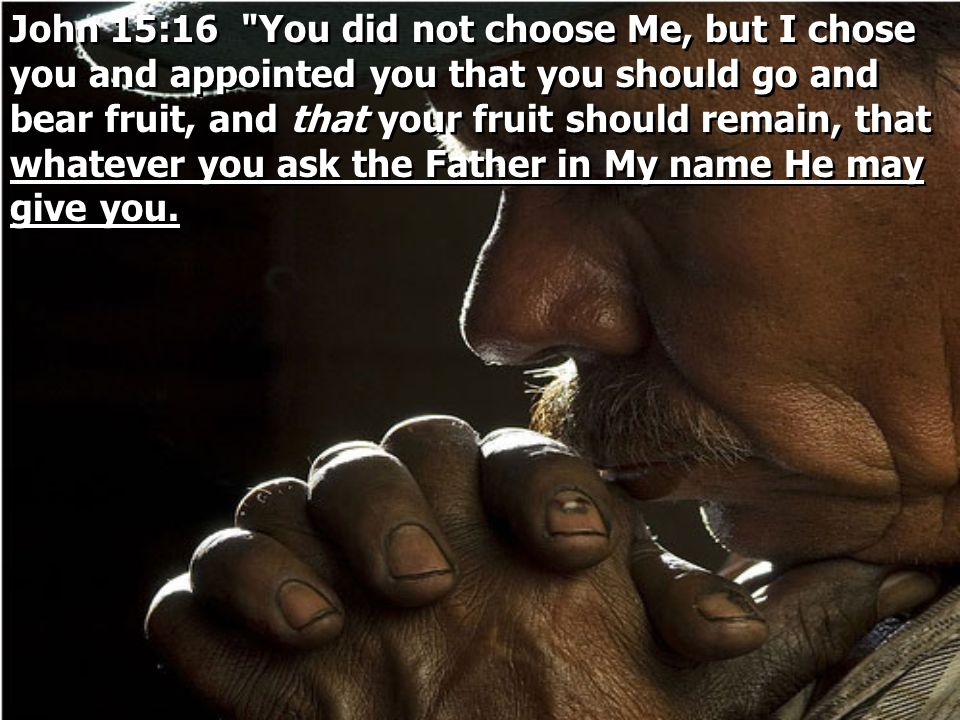 John 15:16 You did not choose Me, but I chose you and appointed you that you should go and bear fruit, and that your fruit should remain, that whatever you ask the Father in My name He may give you.