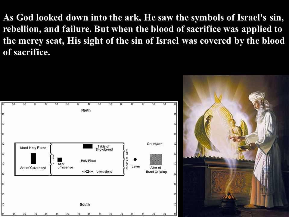 As God looked down into the ark, He saw the symbols of Israel s sin, rebellion, and failure.