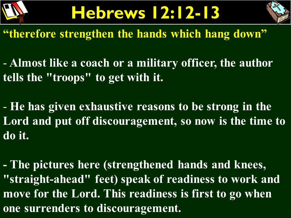 Hebrews 12:12-13 therefore strengthen the hands which hang down