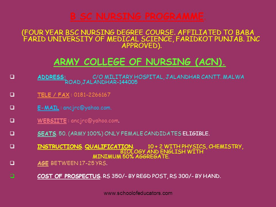 ARMY COLLEGE OF NURSING (ACN).