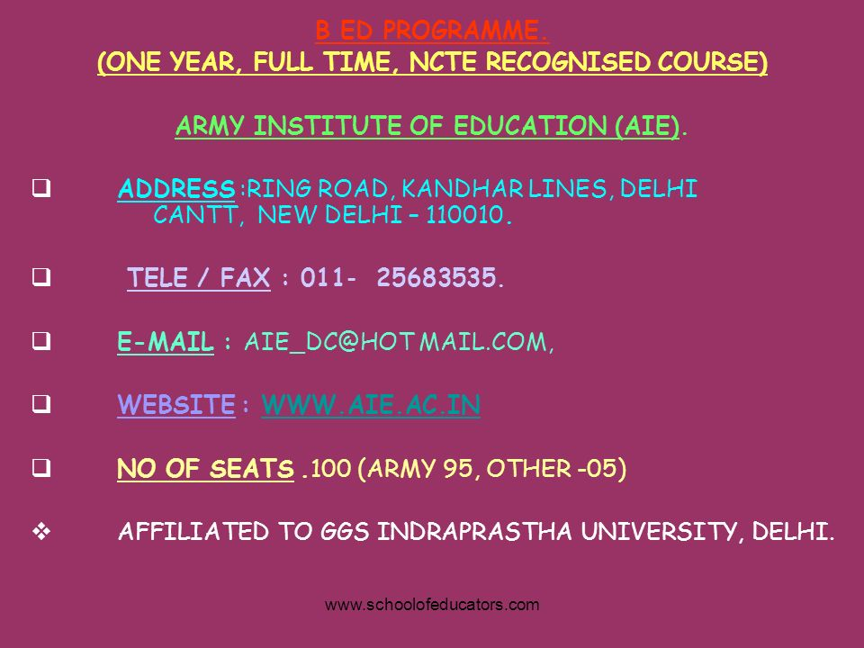 (ONE YEAR, FULL TIME, NCTE RECOGNISED COURSE)