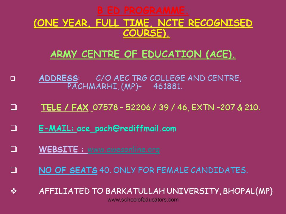 (ONE YEAR, FULL TIME, NCTE RECOGNISED COURSE).