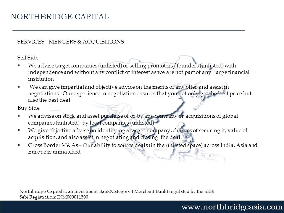 NORTHBRIDGE CAPITAL SERVICES – MERGERS & ACQUISITIONS Sell Side