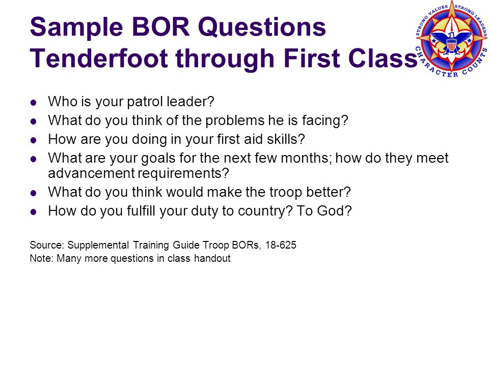 Sample BOR Questions Tenderfoot through First Class