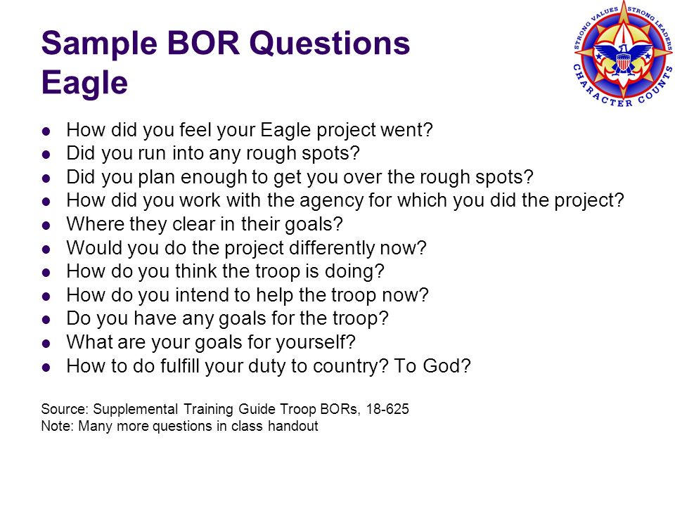 Sample BOR Questions Eagle