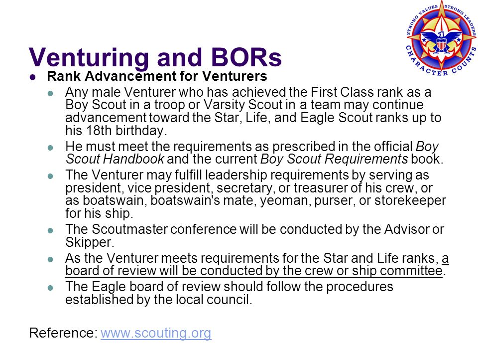 Venturing and BORs Rank Advancement for Venturers