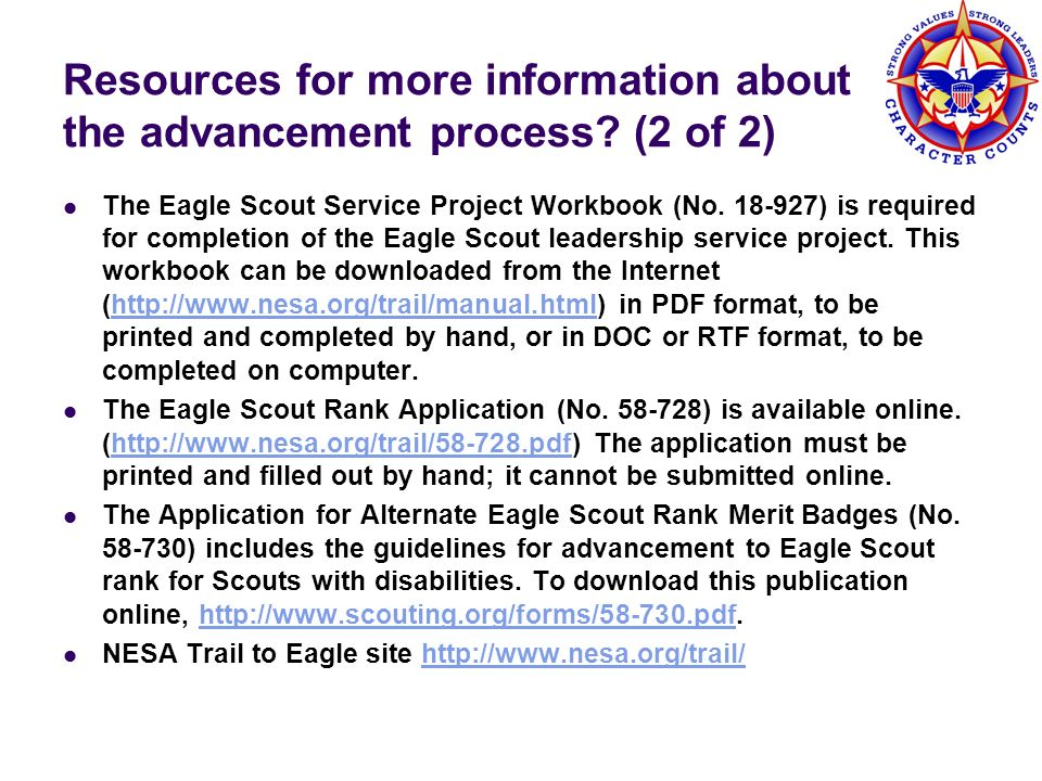 Resources for more information about the advancement process (2 of 2)