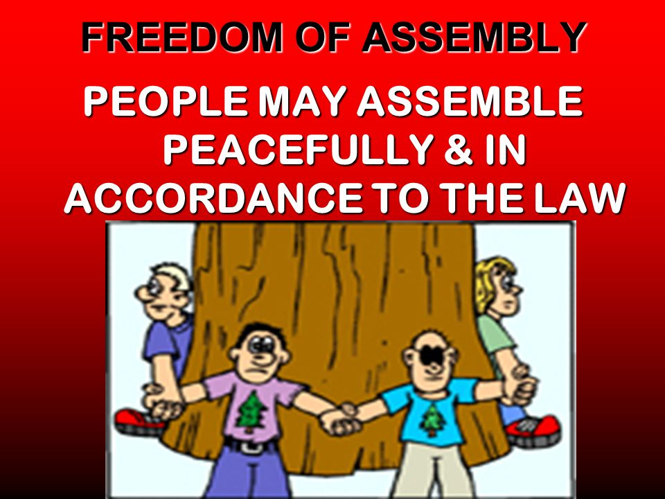 PEOPLE MAY ASSEMBLE PEACEFULLY & IN ACCORDANCE TO THE LAW