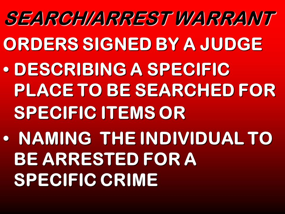 SEARCH/ARREST WARRANT