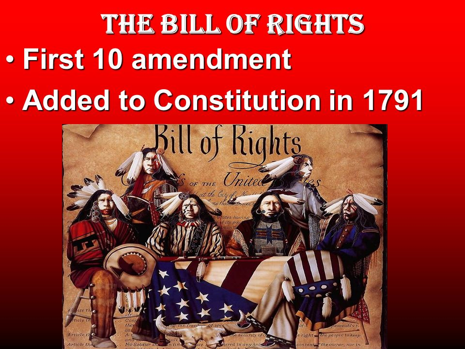 THE BILL OF RIGHTS First 10 amendment Added to Constitution in 1791