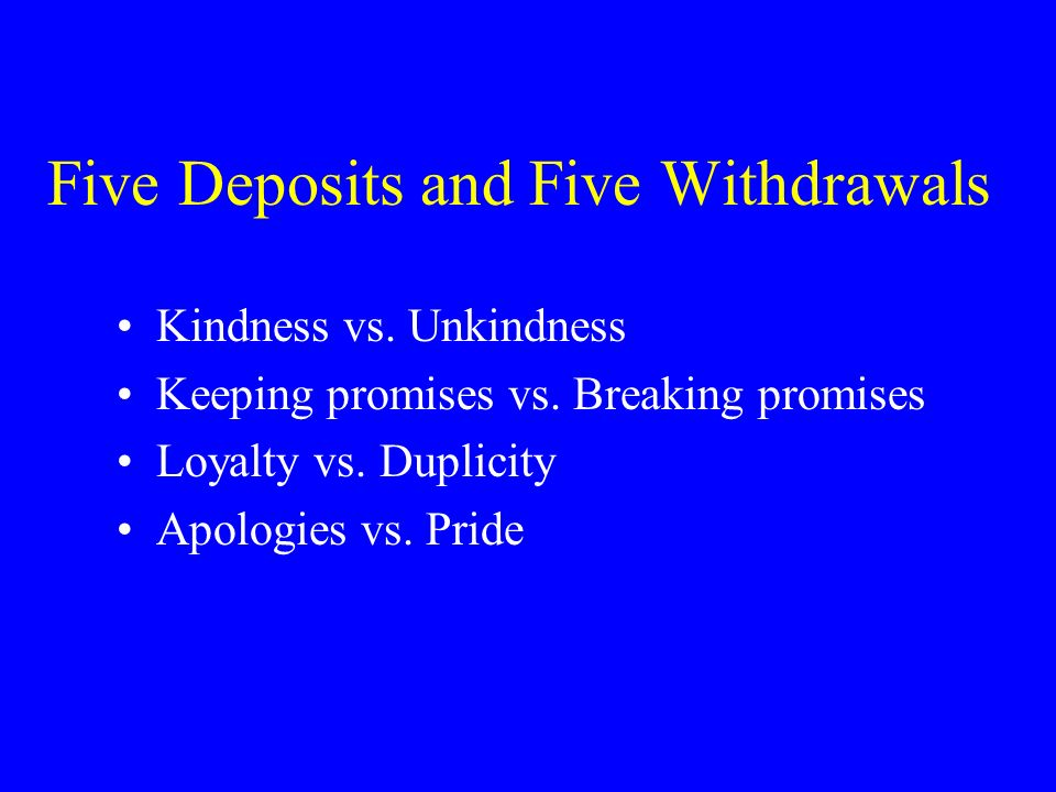 Five Deposits and Five Withdrawals
