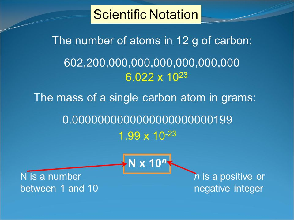Scientific Notation The number of atoms in 12 g of carbon: