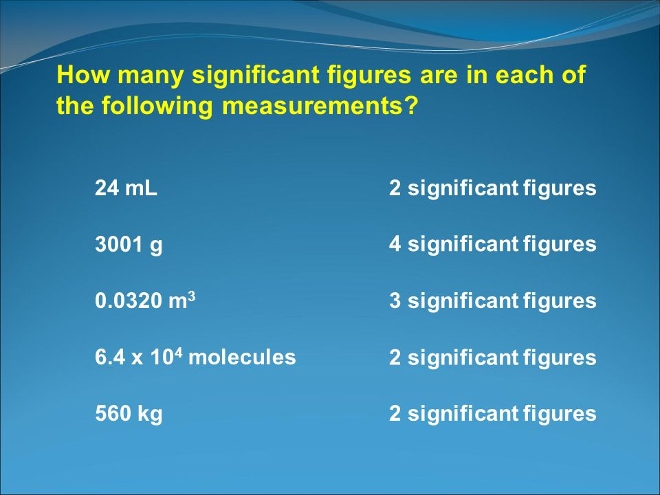How many significant figures are in each of the following measurements