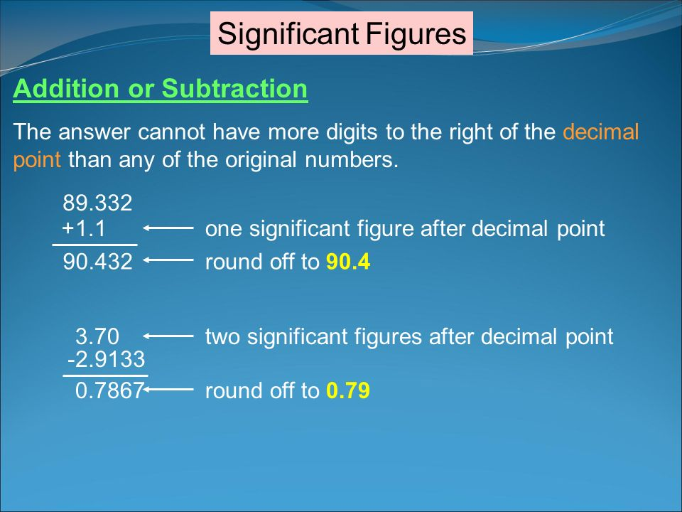 Significant Figures Addition or Subtraction