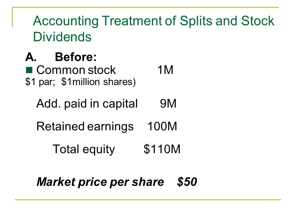 Accounting Treatment of Splits and Stock Dividends
