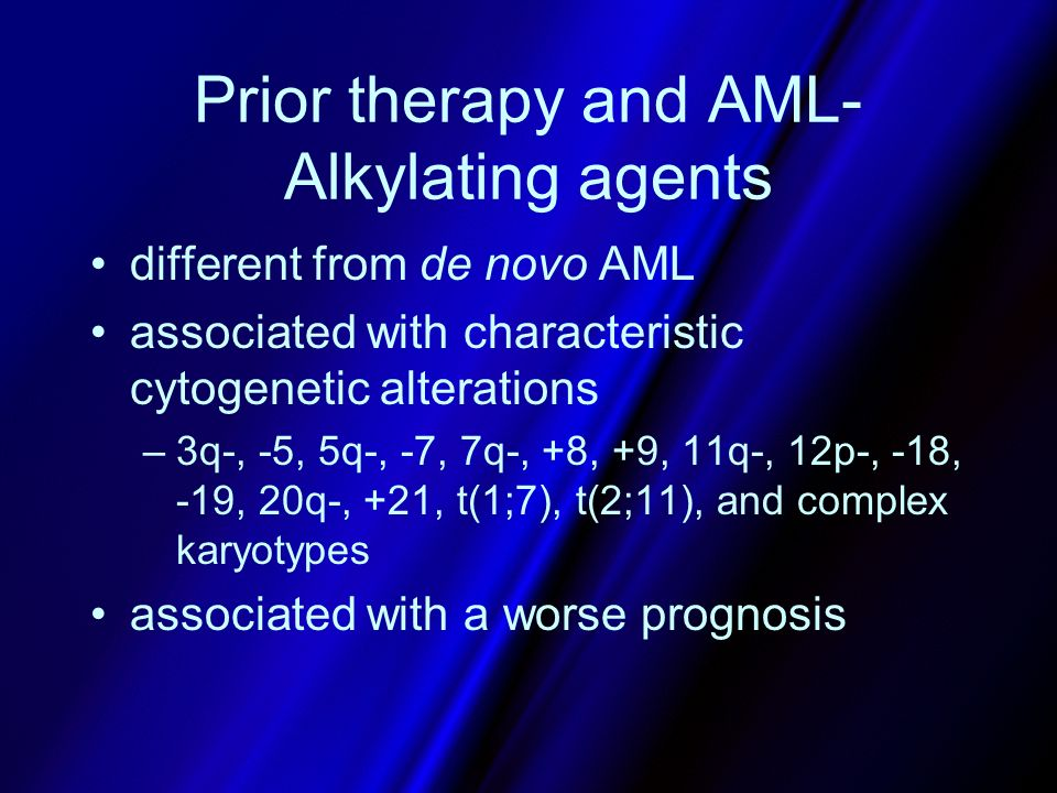 Prior therapy and AML-Alkylating agents