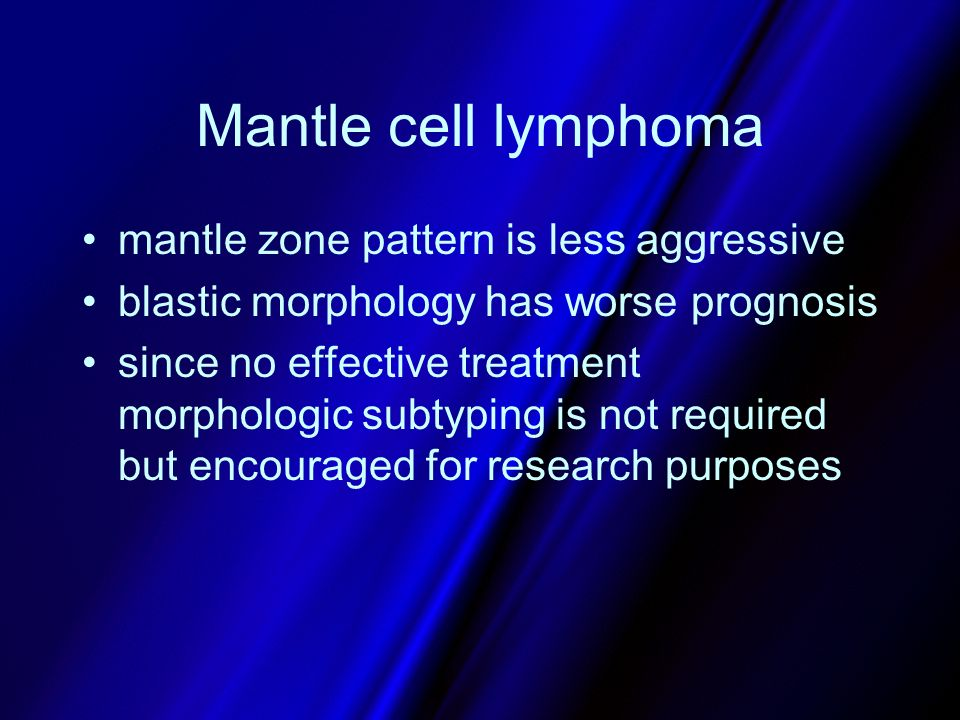 Mantle cell lymphoma mantle zone pattern is less aggressive