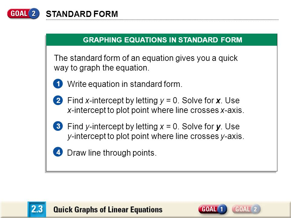 GRAPHING EQUATIONS IN STANDARD FORM