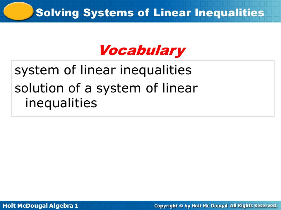 Vocabulary system of linear inequalities