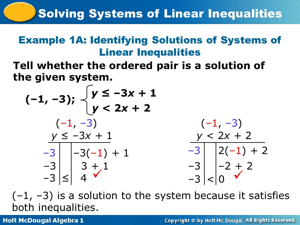 Example 1A: Identifying Solutions of Systems of Linear Inequalities
