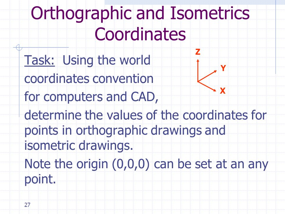 Orthographic and Isometrics Coordinates