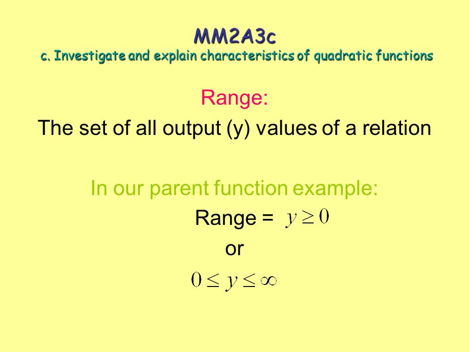 The set of all output (y) values of a relation