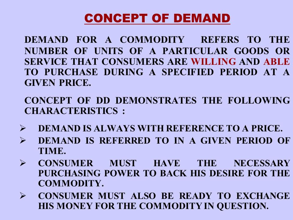 CONCEPT OF DEMAND
