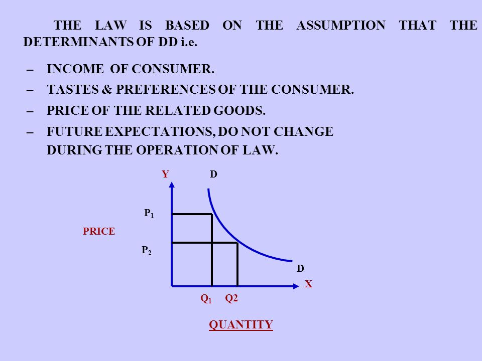 THE LAW IS BASED ON THE ASSUMPTION THAT THE DETERMINANTS OF DD i.e.