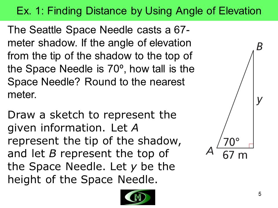 Ex. 1: Finding Distance by Using Angle of Elevation