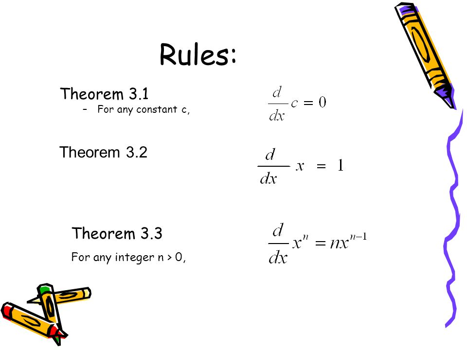 Rules: Theorem 3.1 Theorem 3.2 Theorem 3.3 For any integer n > 0,