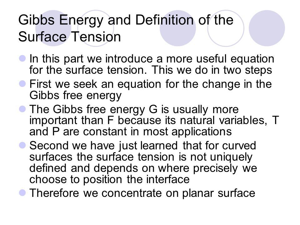 Gibbs Energy and Definition of the Surface Tension