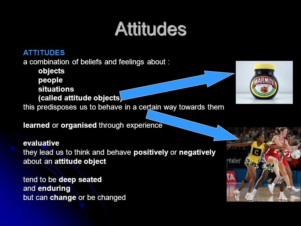 Attitudes ATTITUDES a combination of beliefs and feelings about :