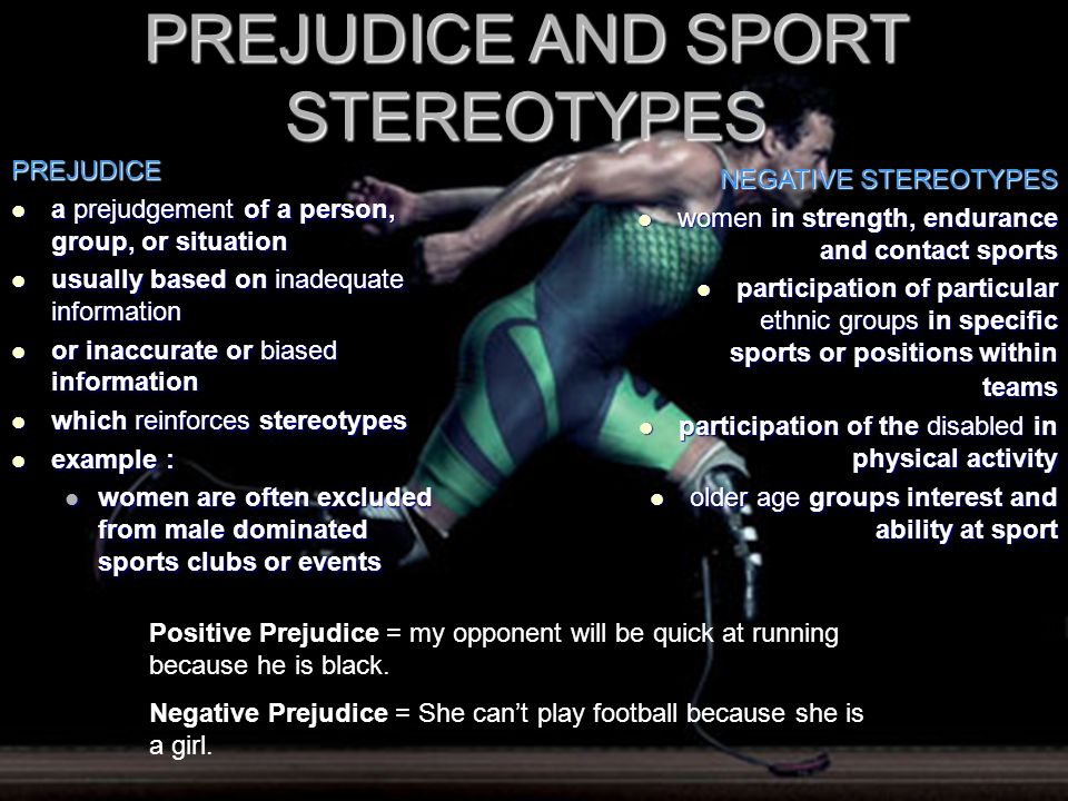 PREJUDICE AND SPORT STEREOTYPES