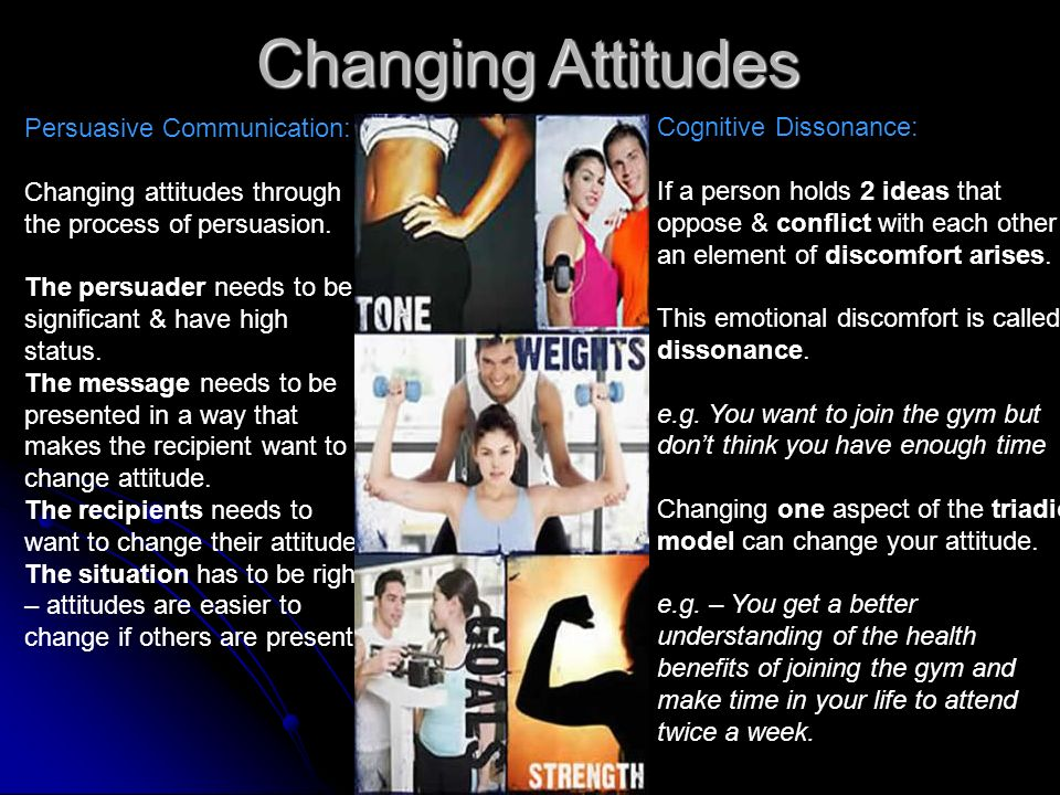 Changing Attitudes Persuasive Communication: Cognitive Dissonance: