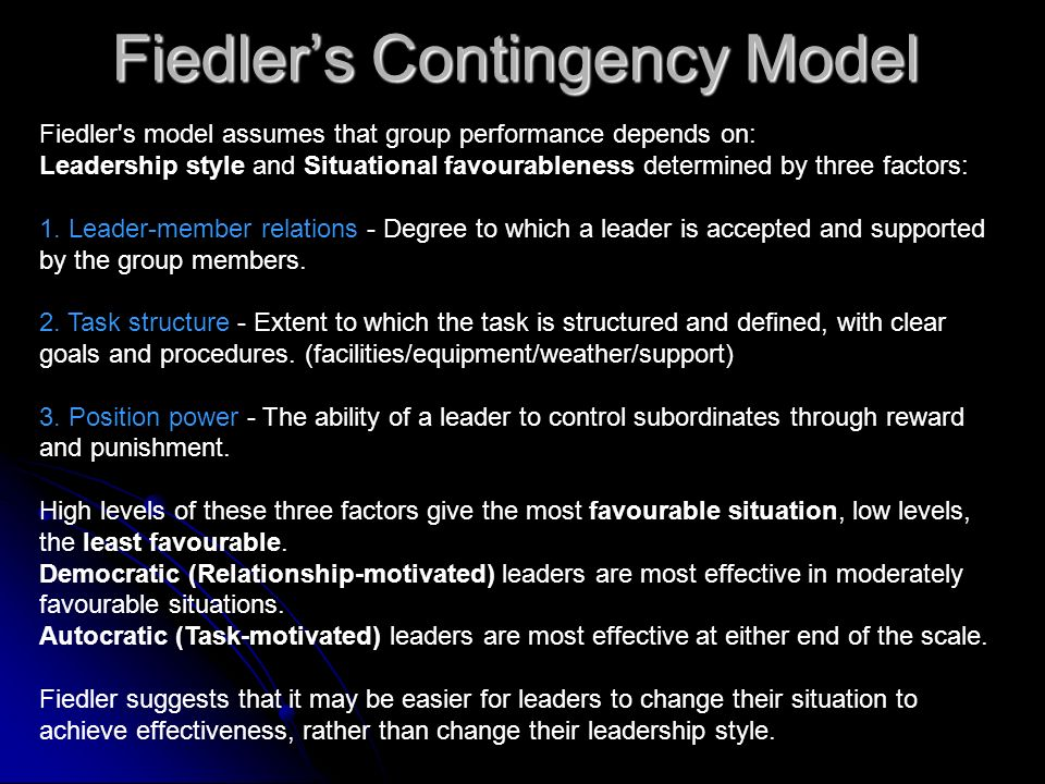 Fiedler's Contingency Model