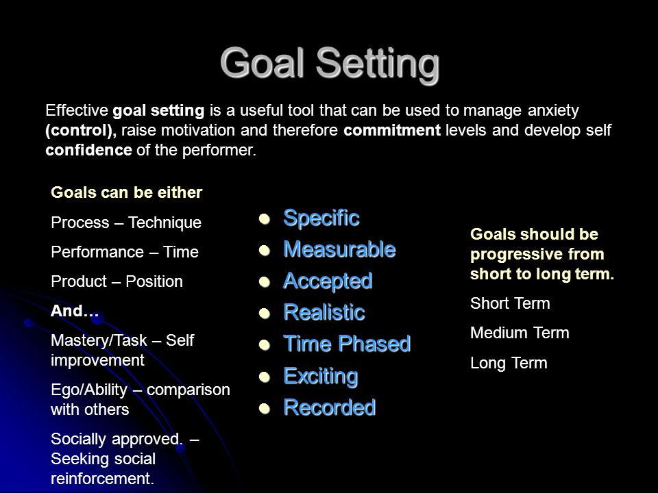 Goal Setting Specific Measurable Accepted Realistic Time Phased