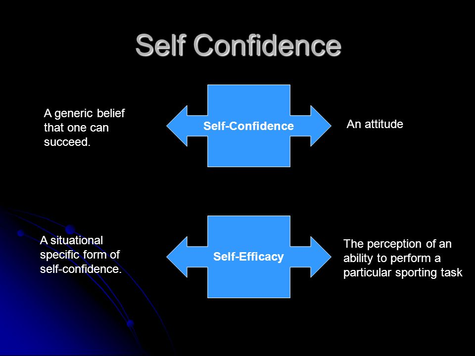 Self Confidence Self-Confidence A generic belief that one can succeed.