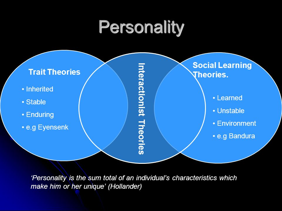 Personality Interactionist Theories Social Learning Theories.