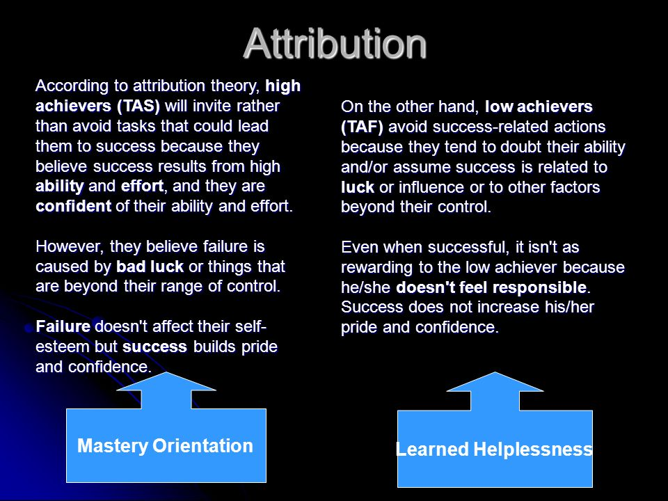 Attribution Mastery Orientation Learned Helplessness