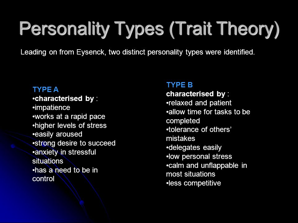 Personality Types (Trait Theory)