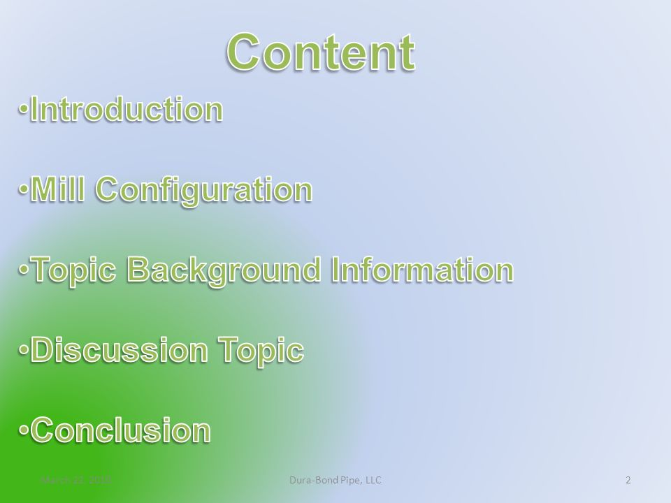 Content Introduction Mill Configuration Topic Background Information