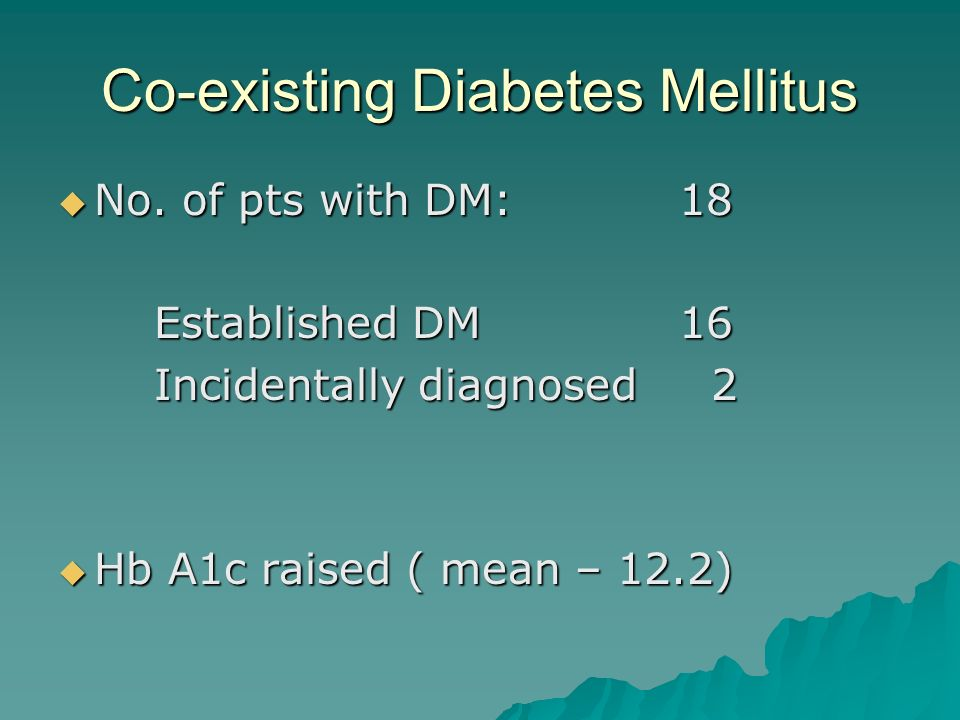 Co-existing Diabetes Mellitus