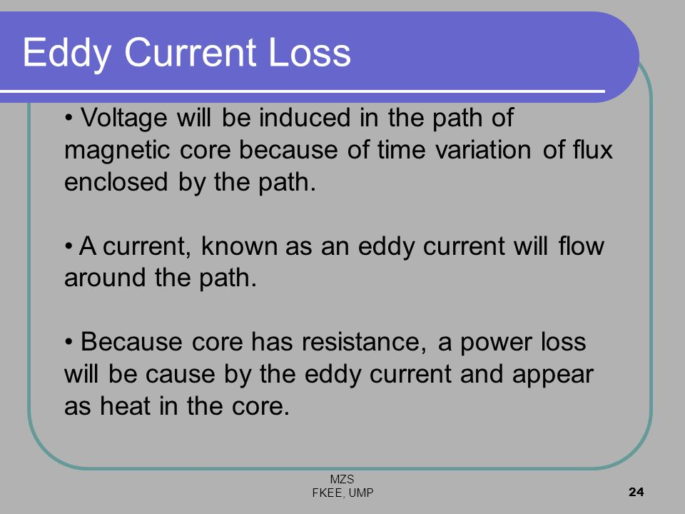 Eddy Current Loss Voltage will be induced in the path of magnetic core because of time variation of flux enclosed by the path.