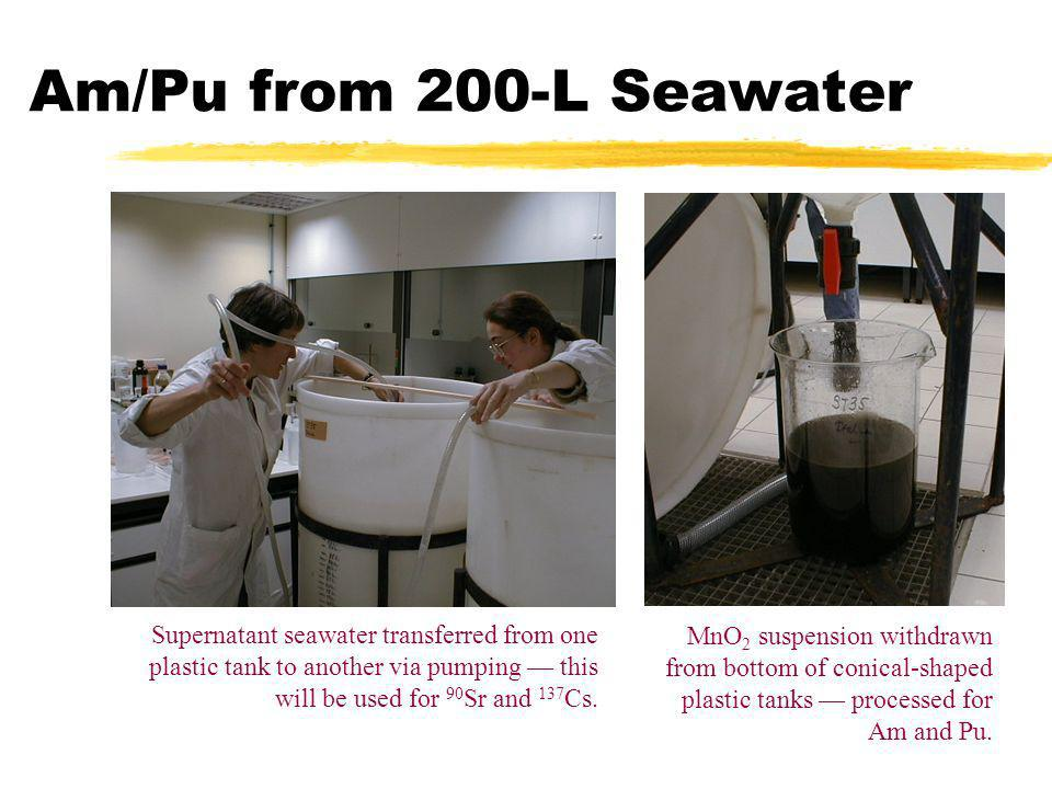 Am/Pu from 200-L Seawater Supernatant seawater transferred from one plastic tank to another via pumping — this will be used for 90Sr and 137Cs.