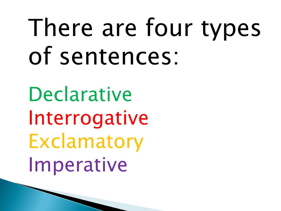 There are four types of sentences: Declarative Interrogative Exclamatory Imperative