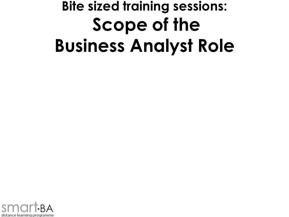 Bite sized training sessions: Scope of the Business Analyst Role