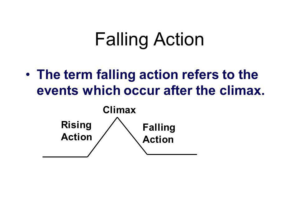 Falling Action The term falling action refers to the events which occur after the climax. Climax. Rising Action.
