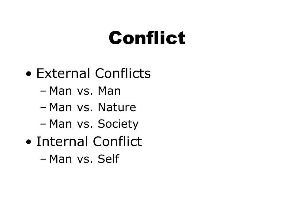 Conflict External Conflicts Internal Conflict Man vs. Man
