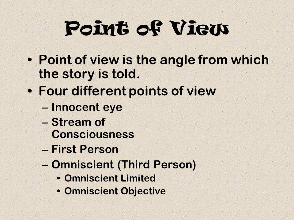 Point of View Point of view is the angle from which the story is told.